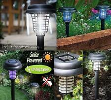Solar Powered LED Light + Insect Bug Zapper UV Mosquito Killer No Wiring New