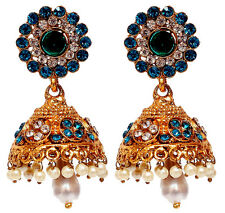 Gold Tone Blue Bollywood Earring Set Wedding Jewelry Bridal CZ Women India Pearl