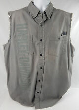 Harley Davidson Men's XL Gray Embroidered Sleeveless Shirt Frayed pre-owned vest