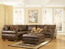 Traditional Antique Brown Bonded Leather Sectional Sofa Rolled Arms & Nailheads