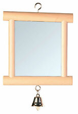 Wooden Framed Double Sided Mirror with Bell Bird Cage Budgie Toy