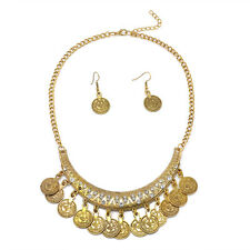 Vintage Retro Ethnic Tribal Boho Coin Statement Necklace+Earrings Festival India