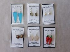 Wholesale Lot of 6 Pairs Handmade Sterling Silver Earrings Pearls,Glass and More