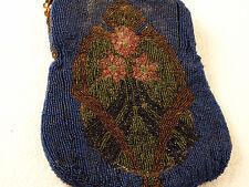 Vintage Antique DEEP BLUE BEADED PURSE ROSE AND FLOWER DESIGN