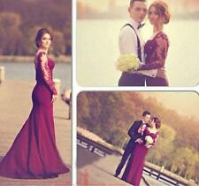 Long Sleeve Mermaid Lace Sexy Formal Evening Prom Gown Party Dresses Custom Size