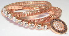 GUESS Jeans Rhinestones Bangle Bracelet Logo Rose Gold Tone Charms NWT set of  3