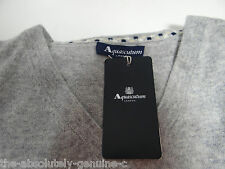 AQUASCUTUM 100% CASHMERE Jumper Sweater GREY sz XXL Vee Neck BNWT