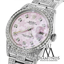 Diamond Rolex Date15200  34mm Pink Flower Diamond Dial Diamond Oyster Band