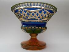 Art Deco Bohemian BLUE CUT TO AMBER URANIUM Glass Bowl - Val St Lambert Interest