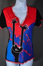 PARAMITA Sz US S Matisse-inspired top Colorful Blue/Red/Black wearable art Mesh