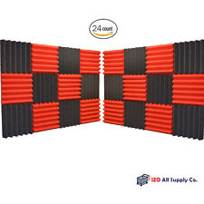 24 Pack Wedge RED/CHARCOAL Acoustic Soundproofing Studio Foam Tiles 2x12x12  6T