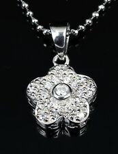 Genuine 925 Sterling Silver CZ Pave FLOWER Pendant Necklace Great Chritmas gift