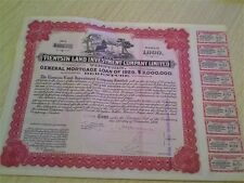 China Chinese 1929 Province Tientsin Land Investment 1000 Taels UNC Bond Share