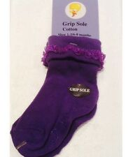 baby frill non slip socks purple cotton stretch 6-8 Months Size 1-3 Australian