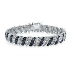 1.00ct TDW Treated Blue & White Diamond Wave Link Tennis Bracelet in Brass