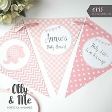 Handmade Personalised Baby Shower Bunting/Banner Decoration Elephant Pink Girl