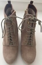 Michael Kors Lace Up Suede Platform Wedge Boot Bootie Size 8.5