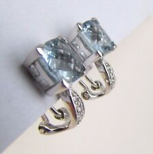 STUNNING 14K WHITE GOLD DIAMOND & AQUAMARINE EARRINGS. OMEGA BACKS
