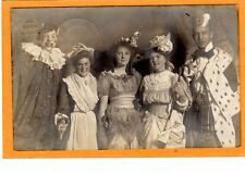 Real Photo Postcard RPPC - Young People in Costume Clown King Little Bo Beep