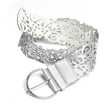 Ladies Silver Tone Faux Leather Cut Out Flower Pin Buckle Wide Belt AD