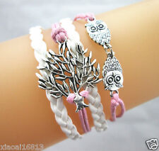 Cute Double Owls & Life Tree Charms Leather Braided Wax String Bracelet