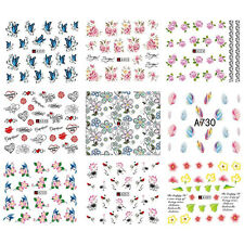 50 Sheets Mixed Flower Butterfly Water Transfer Nail Stickers Decals Art Tips