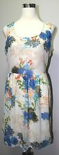 NEW Charming Charlie Large Floral Print Sleeveless Chiffon Fully Lined Dress