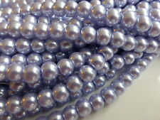 1 Strand 8mm Lavender Blue Glass Pearl Beads Imitation Faux Pearls (Approx 110)