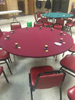 Felt style poker table cover made in RED Speed Cloth Lite for 48