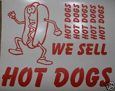 8 Vinyl Hot Dog Stickers for ice cream van or catering