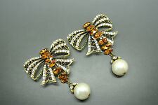 Vintage 50s French couture large bow yellow crystal faux pearl dangle earrings
