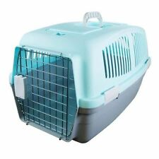 LARGE PLASTIC PET DOG CAT RABBIT CARRIER TRAVEL  BASKET CRATE CARRY HANDLE DOOR