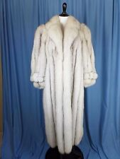 Vintage 70s Genuine Blue Fox Full Length Fur Coat Timeless Glamour Silvery Gray
