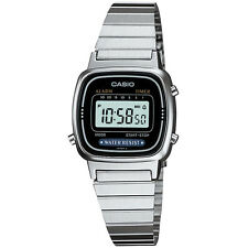 Casio Ladies Digital Stainless Steel  Date Alarm Stop Watch, Silver Black