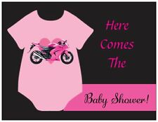 20 PINK Motorcycle Baby ROMPER GIRL Shower INVITATIONS & ENVS & SEALS Cards