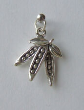 PEAS IN A POD GARDEN VEGETABLES CHILDREN 3D CHARM 925 STERLING SILVER