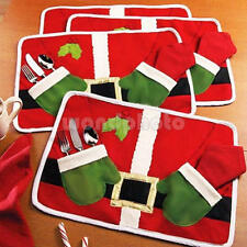 XMAS TABLE DECOR CUTLERY HOLDER CHRISTMAS SANTA TABLE RUNNER PLACEMAT MAT RED