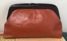 VINTAGE 70s ITALIAN LEATHER CORAL CLUTCH BAG LUCITE FRAME 1970s HANDBAG EVENING