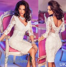 Ladies Womens Dress White,Midi Bodycon Party Stretch Lace Celeb Long Size 12 14