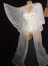 USA Large VinTage Sheer White Long Robe Angel Wing Cape Sleeve