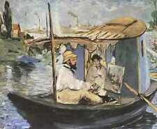 Metal Sign 103 Edouard Manet Monet Painting In The Studio Boat 1874 A4 12x8 Alum