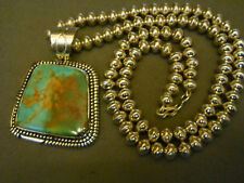 Royston turquoise sterling silver necklace / pendant signed HJT