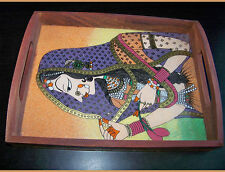 Designer Gemstone Painting Wooden brass decorative Serving tray from India