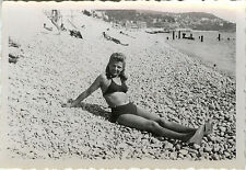 PHOTO ANCIENNE - VINTAGE SNAPSHOT - FEMME PLAGE SEXY PIN UP BIKINI - WOMAN BEACH