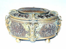 Stunning Antique MORFAU JEWELRY BOX Casket Horncarving w/ Bronze, France