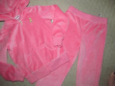 NEW * JUICY COUTURE girls PINK VELOUR JOG SET JACKET PANTS sz 4 ATHLETIC $78