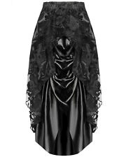 Dark In Love Long Gothic Skirt Black Steampunk Victorian Lace Satin Bustle VTG