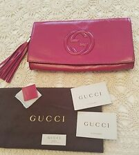 GUCCI Pink Magenta Soho Patent Leather GG gold tassel Clutch handbag NWT!