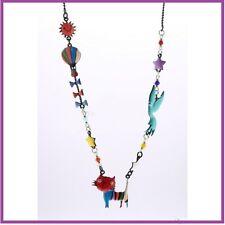 COLLIER ras du cou émaillé chat rouge/multicolore LOL bijou  fantaisie