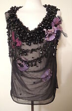 MATTHEW WILLIAMSON Stunning heavily beaded black net flower corsage top UK 10